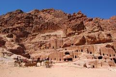 Petra, Verloren rotsstad van Jordanië Stock Foto's