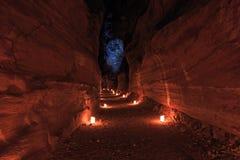 Petra vid natt, i Jordanien Arkivfoto