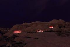 Petra vid natt, i Jordanien Royaltyfri Bild