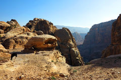 Petra view with donkey Royalty Free Stock Photography