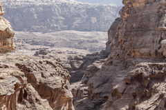 Petra view point. View point from top of the canyon in Petra, Jordan Stock Photo