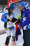 Petra Vlhova de los recuerdos de firma de Eslovaquia durante el eslalom gigante de Audi FIS el Ski World Cup Women alpino fotos de archivo libres de regalías