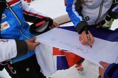 Petra Vlhova de los recuerdos de firma de Eslovaquia durante el eslalom gigante de Audi FIS el Ski World Cup Women alpino foto de archivo