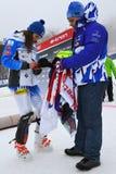 Petra Vlhova de los recuerdos de firma de Eslovaquia durante el eslalom gigante de Audi FIS el Ski World Cup Women alpino imágenes de archivo libres de regalías
