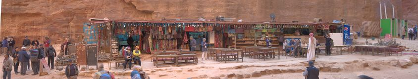 Petra, Wadi Musa, Jordan, March 9, 2018: Sales booth with many articles and souvenirs for tourists in front of the Petra Treasury, royalty free stock photography