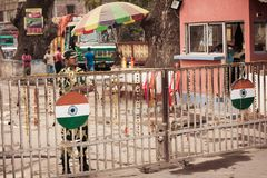 Petrapole Benapole, India, 1 May 2019 - Pics of International Border of India and Bangladesh named as The Radcliffe Line or as a stock photo