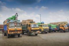 Petrapolegrens - de handels internationale grens van India Bangladesh Stock Afbeelding