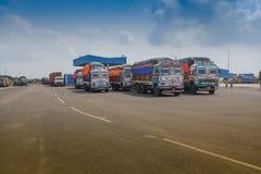 Petrapolegrens - de handels internationale grens van India Bangladesh Stock Fotografie