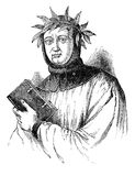 Petrarch. An engraved illustration portrait image of Petrarch (Francesco Petrarca), a 14th century Renaissance poet and scholar, regarded as the Father of Royalty Free Stock Image