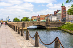 Petri Bridge in the old town of Malmo. Sweden Stock Photography