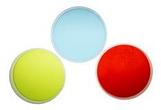 Petri Dishes con agar colorido Fotografía de archivo