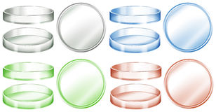 Petri dishes in different colors. Illustration Stock Image