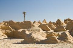 Petrified dunes. In Tunisia, near Douz Royalty Free Stock Images