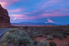 Petrified Dunes view of La Sal Mountains at sunset Stock Photos