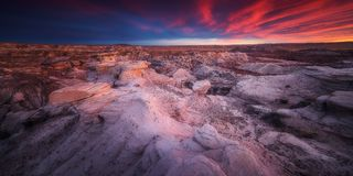 Badland Formations Near Blue Mesa Trail During Beautiful Sunset in Petrified Forest National Park. Petrified Forest National Park is in northeastern Arizona. In Stock Image
