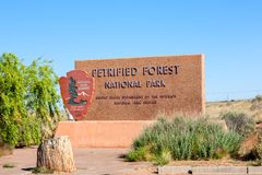 Petrified Forest National Park. The sign at the entrance to the Petrified Forest National Park Royalty Free Stock Image