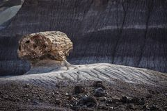 Petrified Log eroding out of badlands at Painted Desert National Royalty Free Stock Photos
