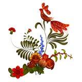 Petrikov het schilderen Bloemen ornament op witte achtergrond Stock Fotografie