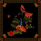 Petrikov het schilderen Uitstekend bloemenornament Stock Foto