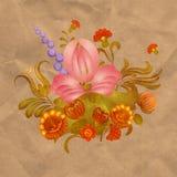 Petrikov het schilderen Uitstekend bloemenornament op oud document Royalty-vrije Stock Foto