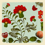 Petrikov painting. Ukrainian national floral ornament. vintage Royalty Free Stock Photography