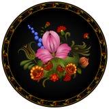 Petrikov painting.  Vintage floral ornament on black round plate Stock Photos