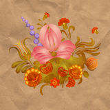 Petrikov painting.  Vintage floral ornament on old paper Royalty Free Stock Photo