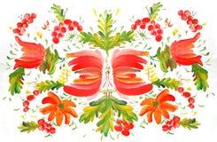 Petrikovskaya pattern red flowers painting in watercolor style stock illustration
