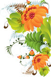 Petrikovsky ornament with flowers Stock Photo