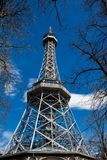 Petrin Lookout Tower in Prague. Built on 1891 stock photo