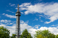 Petrin Lookout Tower (1892), resembling Eiffel tower, Petrin Hill Park, Prague, Czech Republic.  Royalty Free Stock Images