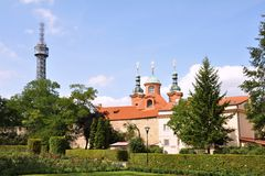 Petrin Tower In Prague Park Stock Image
