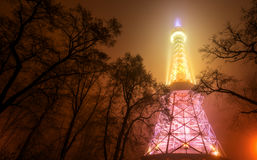 Petrin Tower in Prague at Night in Fog Royalty Free Stock Photo