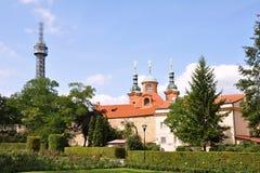 Petrin Tower in Prague park Stock Image