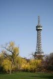 Petrin tower in Prague in spring , Czech Republic Stock Photo
