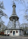 Petrin tower in prague stock photos
