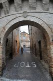 Petriolo medieval village in Marche Region, central Italy. The entrance to the castle of the medieval village of Petriolo. Marche region, central Italy stock photo