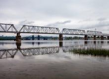 Petrivskiy railroad bridge in Kyiv (Ukraine) across the Dnieper Stock Photography