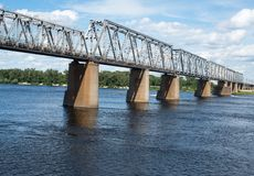 Petrivskiy railroad bridge in Kyiv (Ukraine) across the Dnieper Stock Images