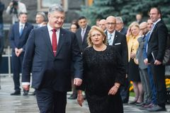 Petro波罗申科和马尔他总统玛里路易丝Coleiro Prec 免版税库存图片