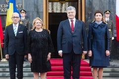 Petro波罗申科和马尔他总统玛里路易丝Coleiro Prec 免版税库存照片