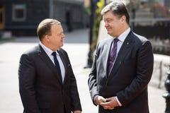 Petro波罗申科和Lars Lokke拉斯姆森 免版税库存照片