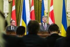Petro波罗申科和Lars Lokke拉斯姆森 免版税库存图片