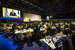 Petro波罗申科在联合国气候会议在巴黎 免版税库存图片