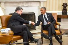 Petro波罗申科总统贝拉克・奥巴马和 免版税图库摄影