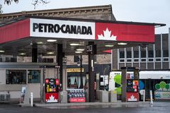 Petro-Canada logo in front of one of their gas stations in Canada. Belonging to Suncor Energy royalty free stock images