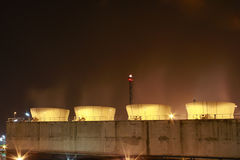 Petro and chemical plant - night scene Royalty Free Stock Images