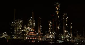 Petro chemical plant pernis Rotterdam by night Royalty Free Stock Photo