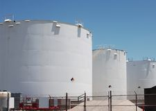 Petro-chemical storage tanks. A shot of a petroleum storage tanks Stock Photo