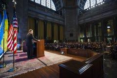 Petro Poroshenko à l'Université de Columbia à New York City Image stock